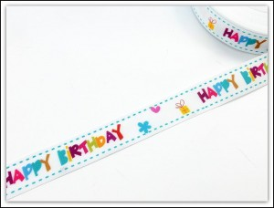 Tasiemka rypsowa ozdobna 20mm - HAPPY BIRTHDAY - 1 metr